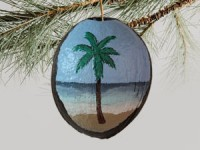 Painted Coconut Ornament #2934 with free USPS shipping - Product Image