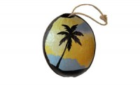 Painted Coconut Ornament #2981 with free USPS shipping - Product Image