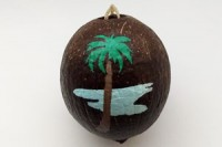 Painted Coconut Ornament #2954 with free USPS shipping - Product Image